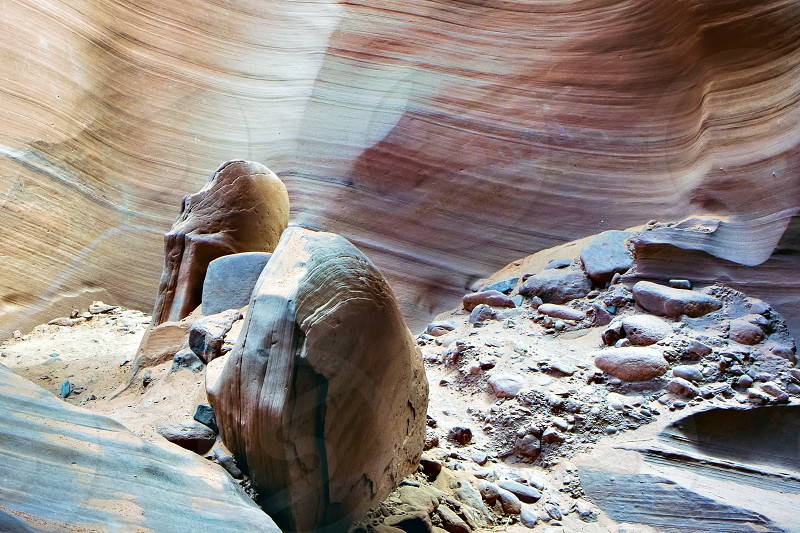 Boulders in Antelope Canyon photo