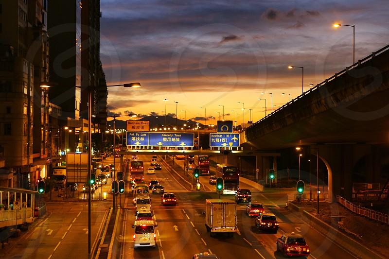 Urban surrounds street transportation  road evening city light photo