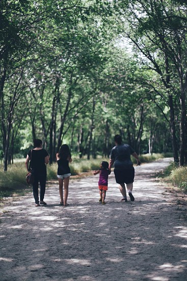 four people walking under the tree photo