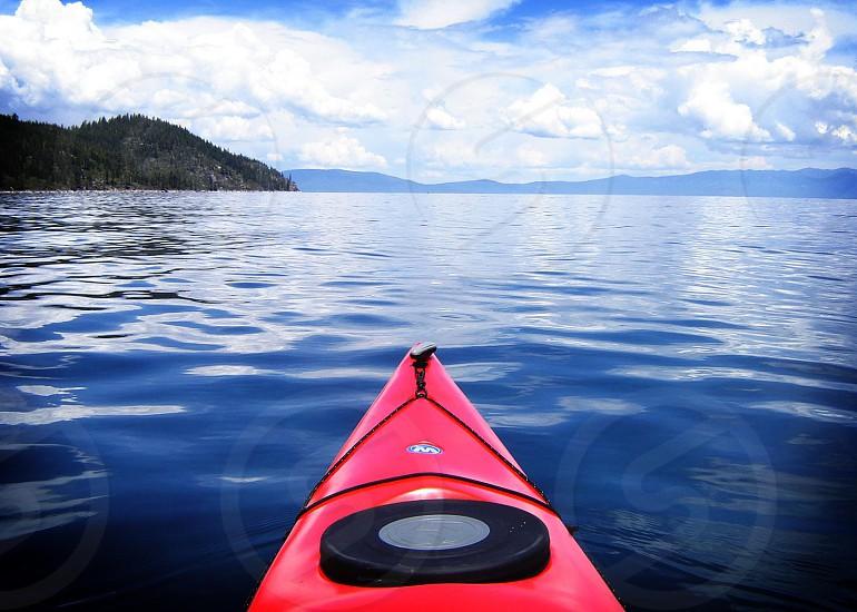 A canoe heads out into Lake Tahoe. photo