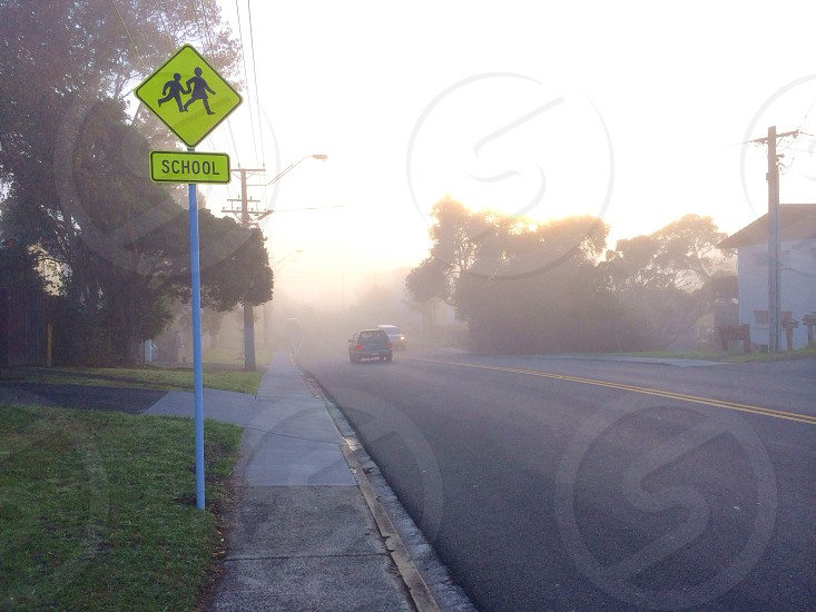 School zone on a foggy day photo