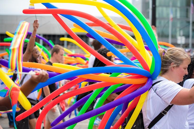 Pride paradeLGBT LBGTQ colorful flags festival pride month photo