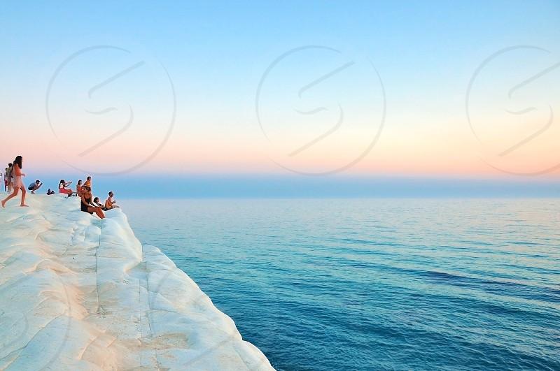 White rock mountain on the sea at Scala dei turchi Sicily photo