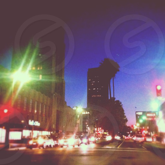 lighted buildings view  photo