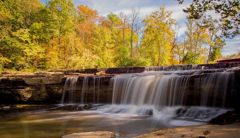 Fall colors at a waterfall in Indiana. photo