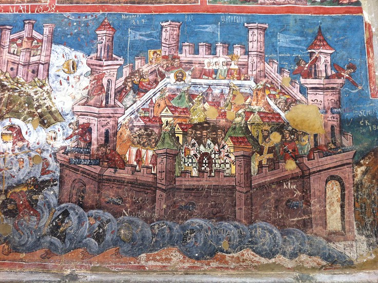 Moldovita MonasteryBucovinaRomaniamuralfrescoSiege of Constantinople themeunesco photo