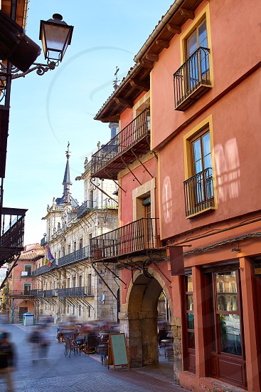 Leon downtown street by the way of Saint James at Castilla Spain photo