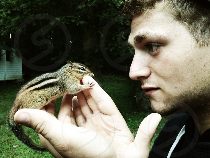 man holding brown and black squirrel photo
