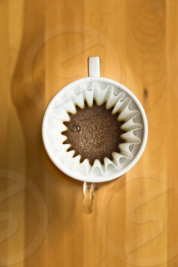 coffee cup filter Kalita wave white wood overhead bubble cafe brew grain photo