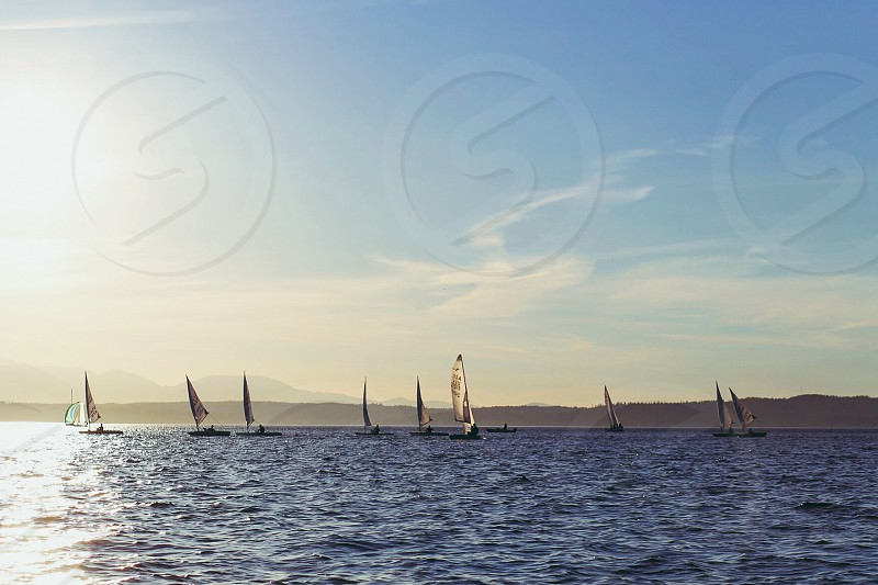 Sailing sailboats summer racing regatta sunshine water  photo