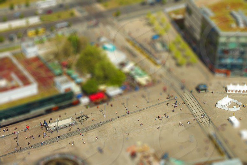 Aerial view of the Alexanderplatz public square in Berlin. with tilt-shift effect. photo