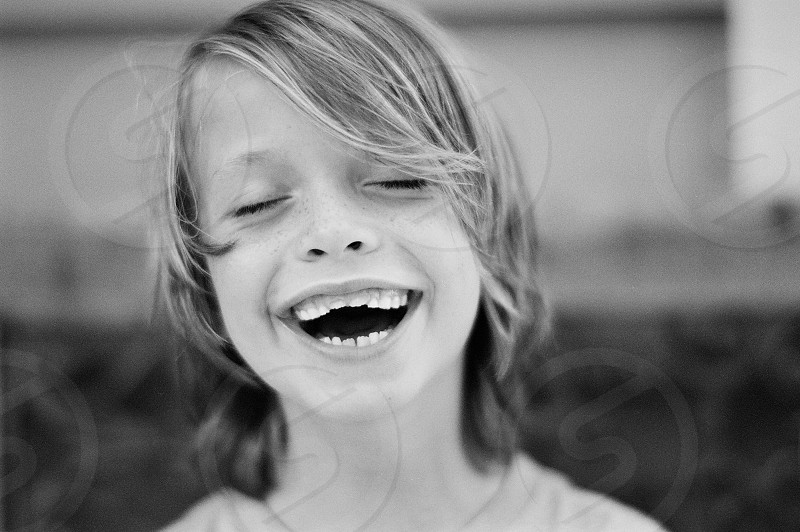 No teeth baby teeth tooth fairy 7 year old boy son black and white  photo