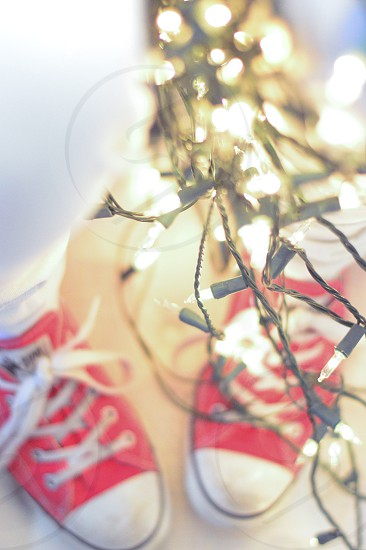 holiday lights and red converse photo