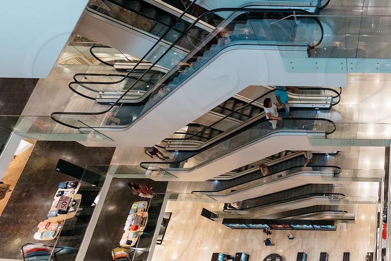 High angle view of escalators in shopping center in Graz Austria photo