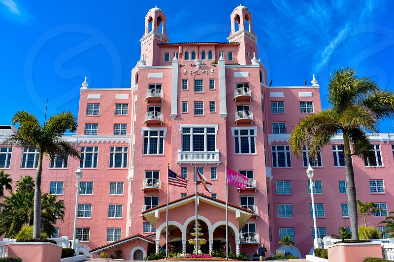 St. Pete Beach Florida. January 25 2019.  Top view of main entrance in The Don Cesar Hotel. The Legendary Pink Palace of St. Pete Beach  of St. Pete Beach at Gulf Coast Beaches  (5) photo