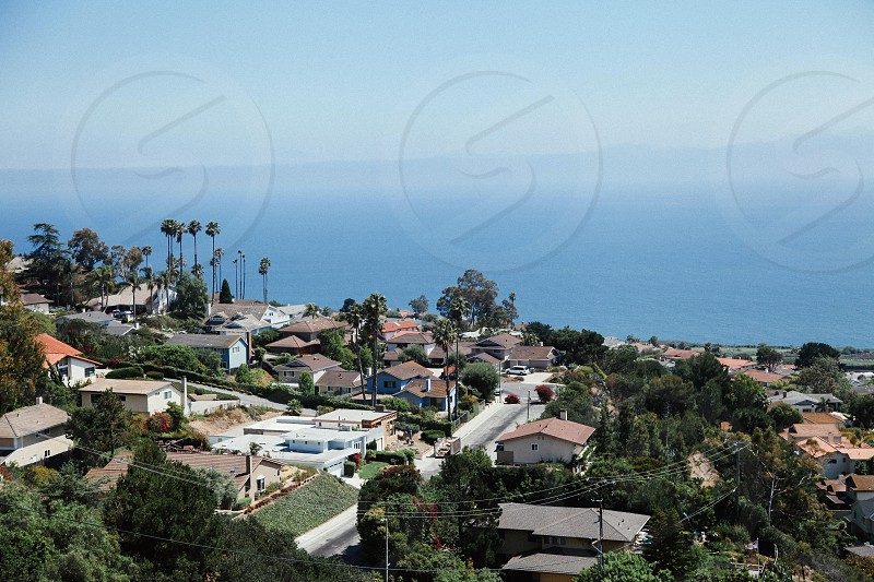Off the coast of Rancho Palos Verdes in Los Angeles California. Beautiful beach and palm trees. photo