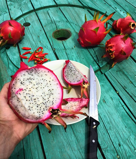 white and pink dragon fruit photo