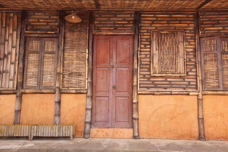 a woodhouse in the town of Mae Salong north of the city Chiang Rai in North Thailand. photo