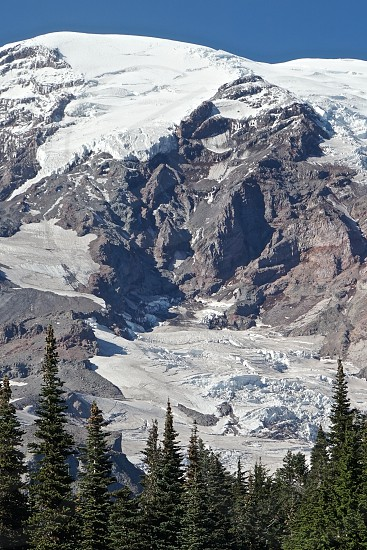 Mt. Rainier in Washington State stands majestically showing off its glaciers and challenging hiking surfaces. photo