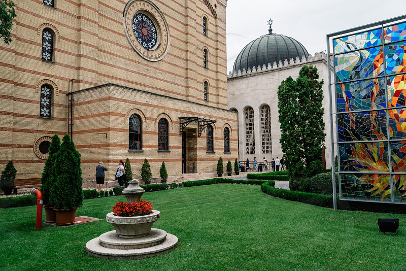 Budapest Hungary - August 13 2017:  The Dohany Street Synagogue also known as The Great Synagogue. It is the largest synagogue in Europe. Courtyard photo