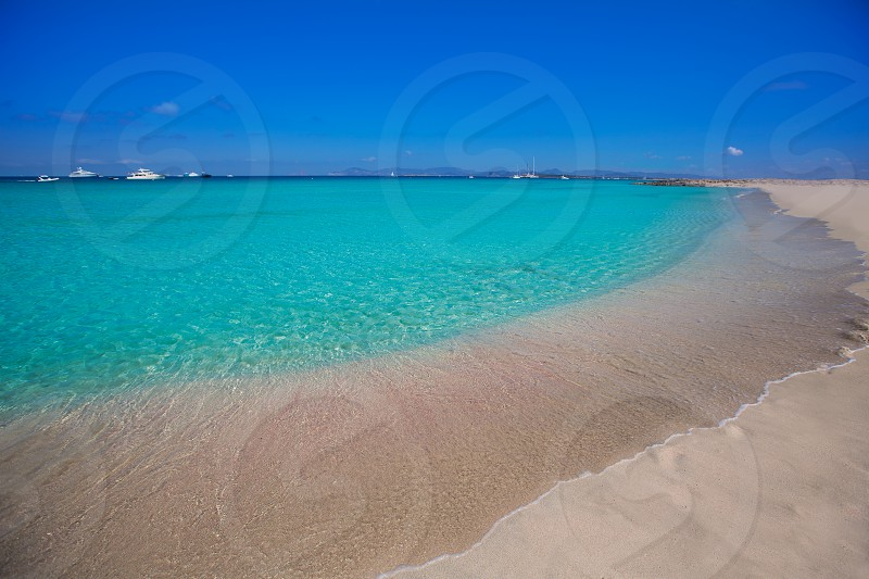 Formentera Illetes Illetas tropical beach near Ibiza at Balearic islands of Spain photo