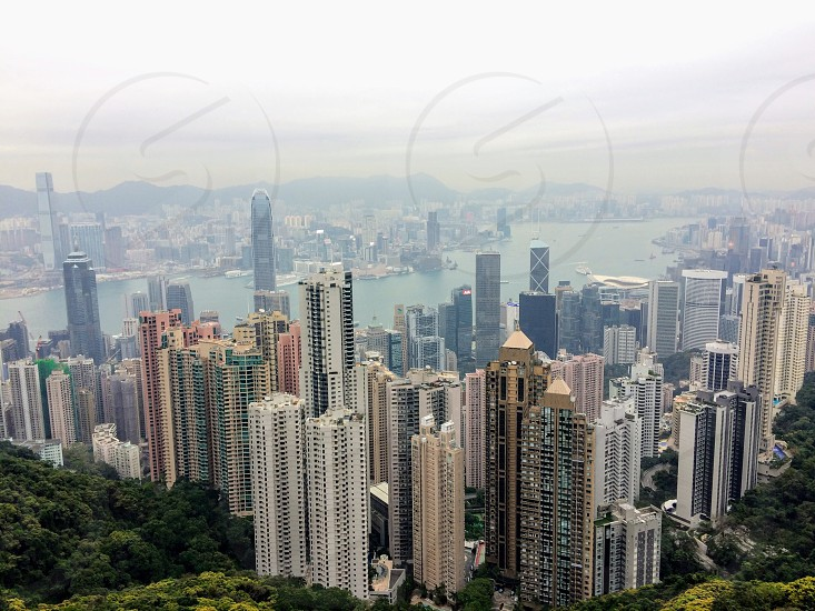 Hong Kong skyscrapers building architecture city metropolis urban travel landscape  photo