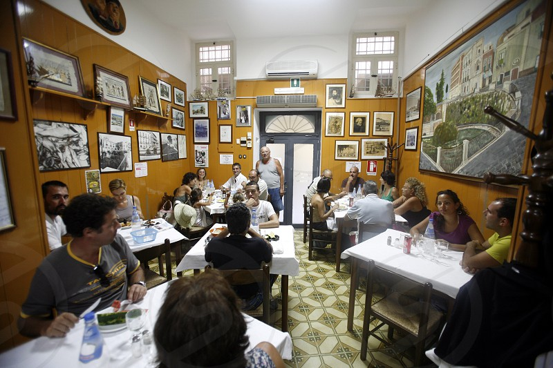 a traditional Pasta Restaurant in the old Town of Siracusa in Sicily in south Italy in Europe. photo