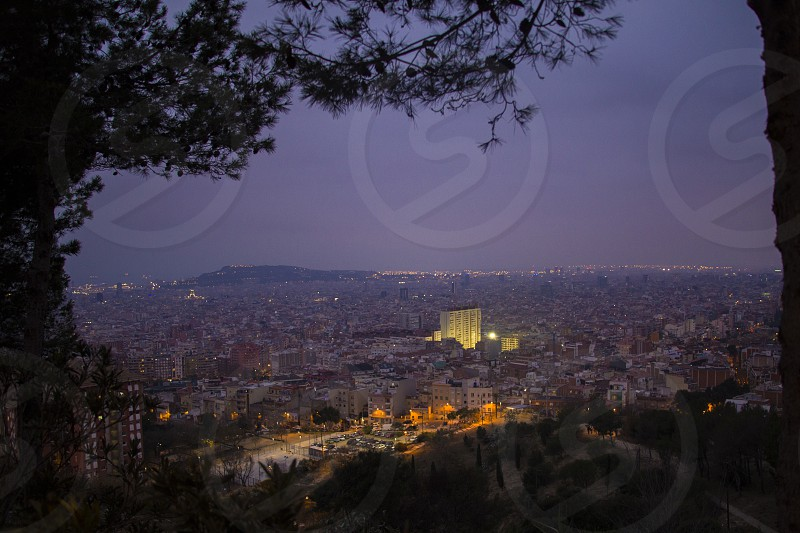Top view of a night city. Barcelona photo