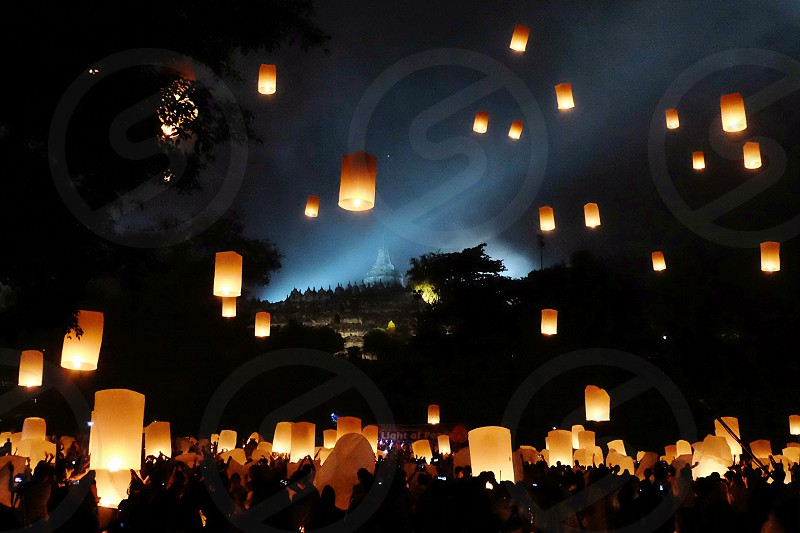 lantern festival on vesak day at Borobudur temple Indonesia. photo