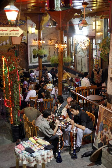 the Cafe An Nafura in the market or souq in the old town in the city of Damaskus in Syria in the middle east photo