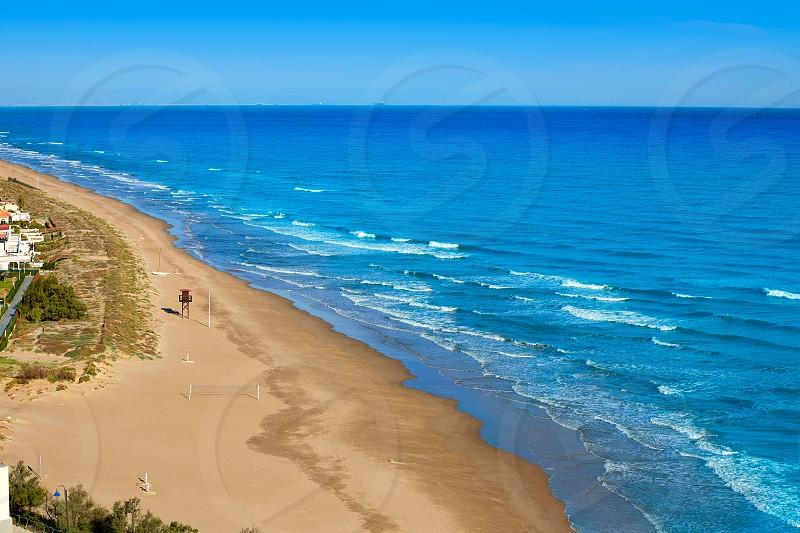 Cullera Dosel beach aerial Mediterranean sea in Valencia of Spain photo
