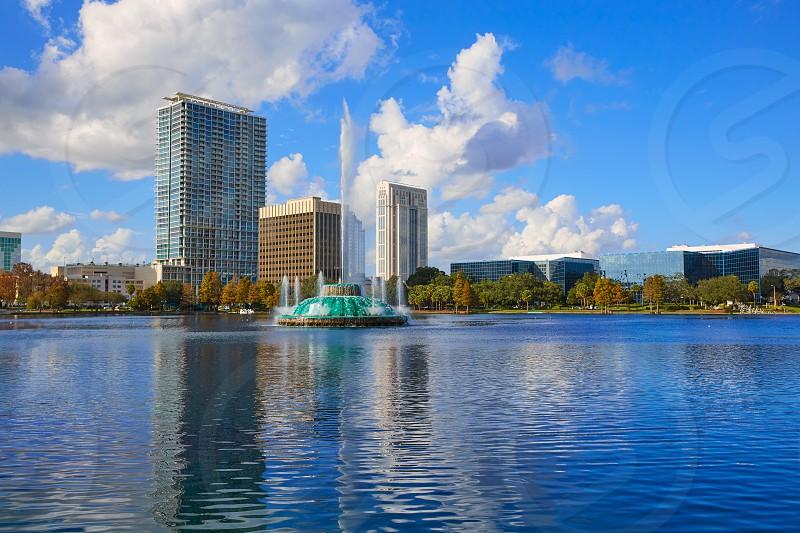 Orlando skyline fom lake Eola in Florida USA photo