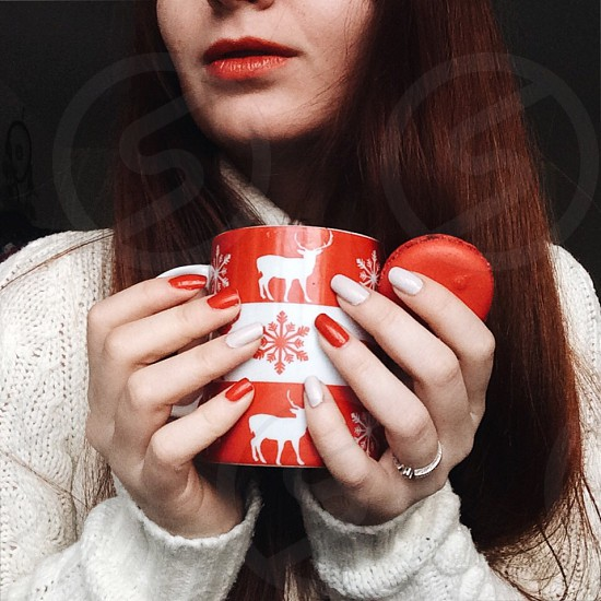 With tea home red red lips cozy warm photo