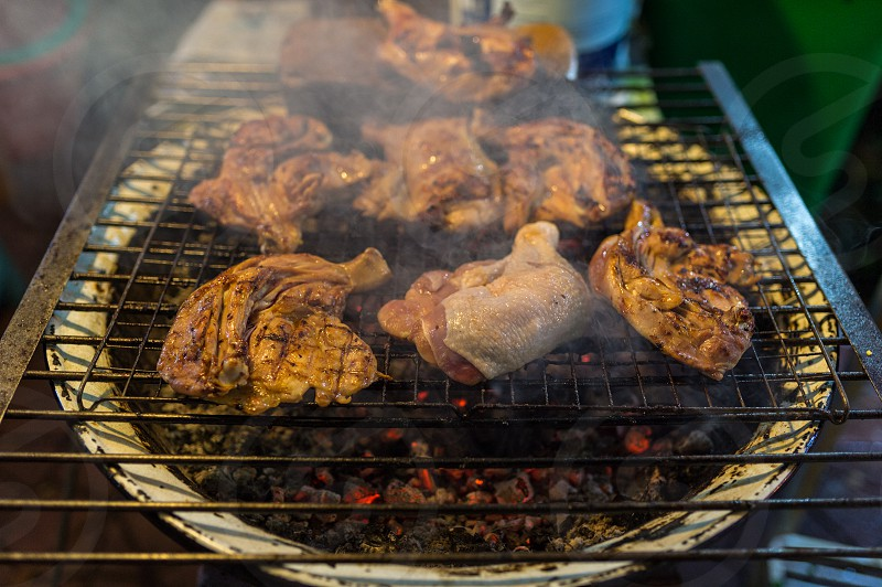 street food - grilled chicken photo