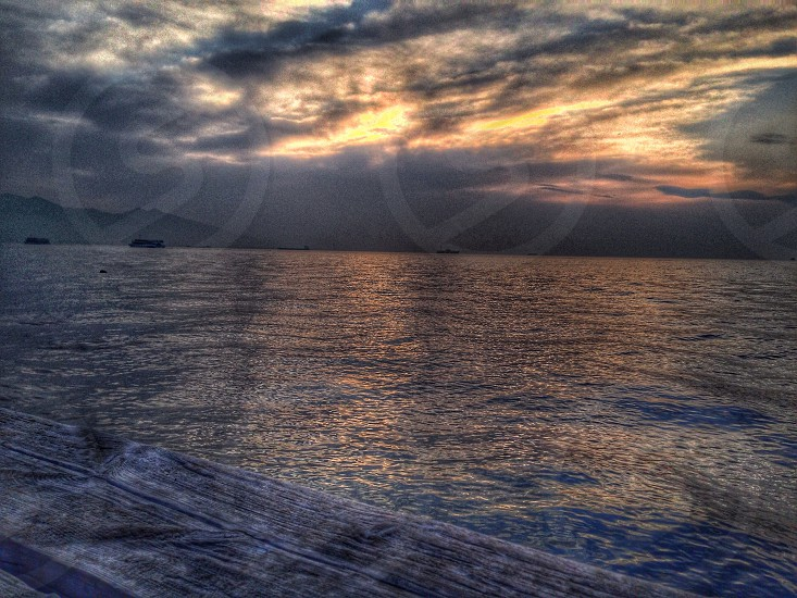 Sunset sea coast photo