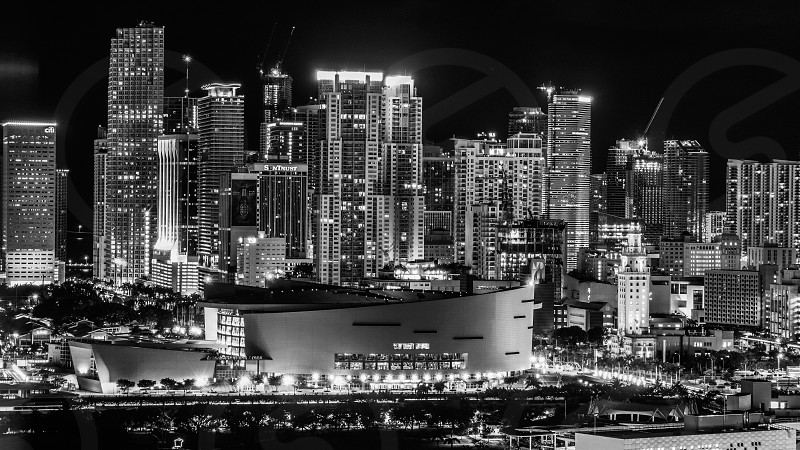 Color art large awesome beautiful landscape city street night Miami south beach downtown from above cars long exposure contrast colorful evening sky starts buildings sky scrapers modern classic urban black and white photo