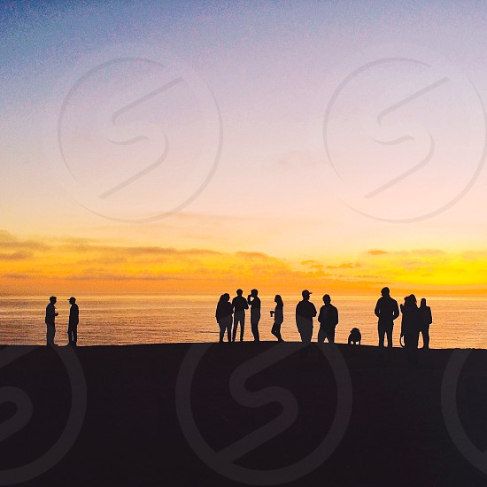 silhouette of people standing near body of water photo