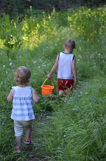 Orange pail girl boy children toddlers adventure spring photo