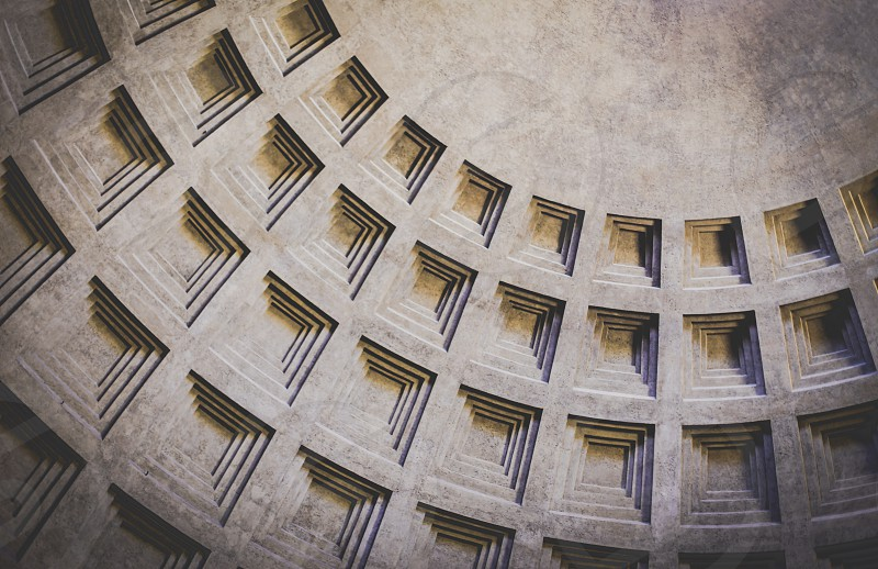 The Pantheon - Rome Italy ceiling shadow pattern repetition photo