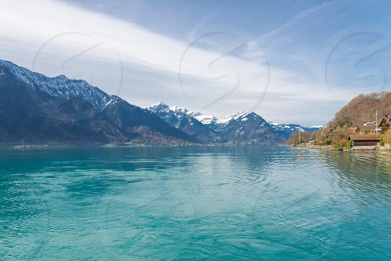 Scenery around Lake Brienz in Interlaken Switzerland during sunny day photo