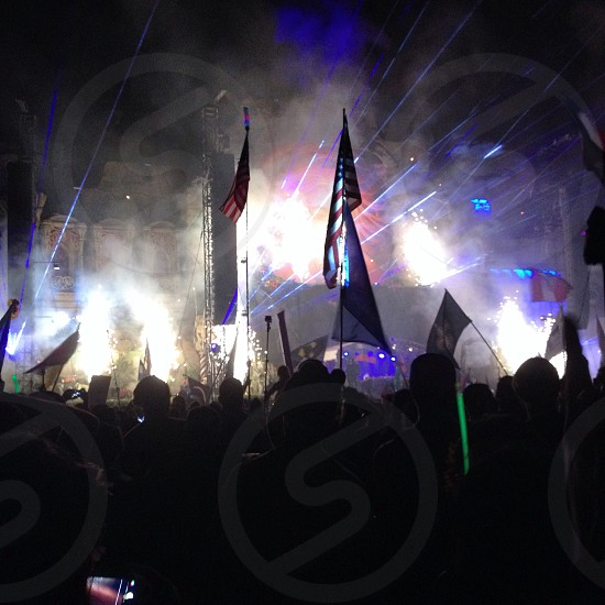 American flags among the madness of TomorrowWorld GA.  photo