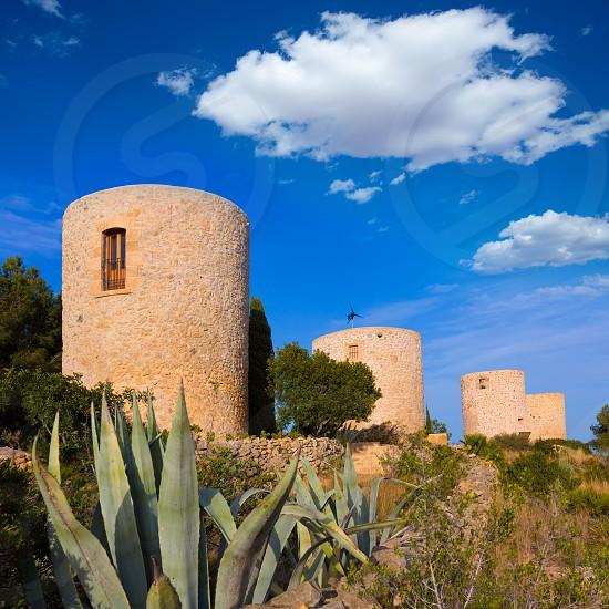 Javea Xabia Molins de la Plana old masonry windmills Alicante Spain photo