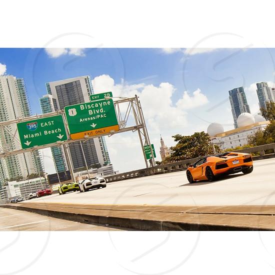 Miami Travel Cars Auto Automobile Beach Lambo Lamborghini Aventador Sports Car Exotic photo