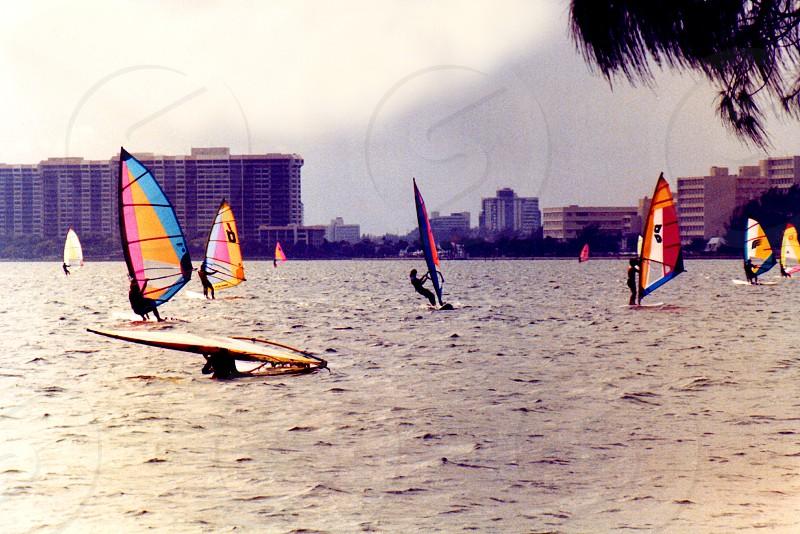 Colorful windsurfers gliding over Biscayne Bay Miami Florida photo
