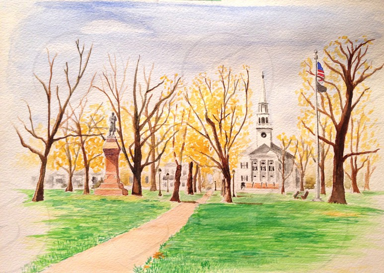 green grass park with brown trees painting art photo
