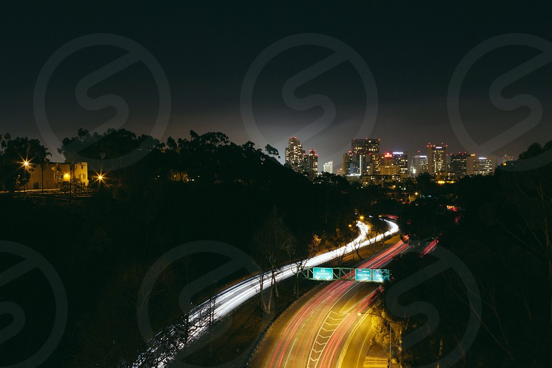 view of street road at night photo