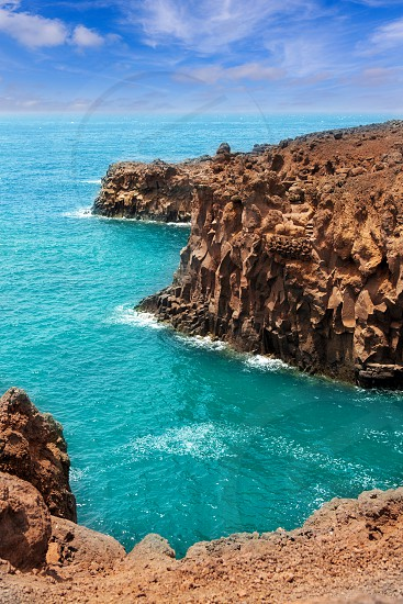 Lanzarote Los hervideros like boiling water caves in canary Islands photo