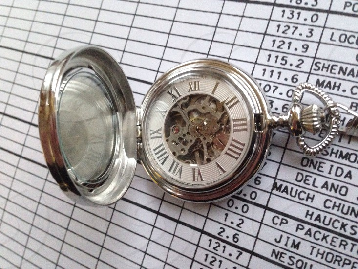 silver plated mechanical pocket watch photo