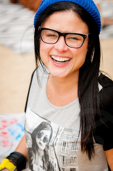 Happy woman laughing photo