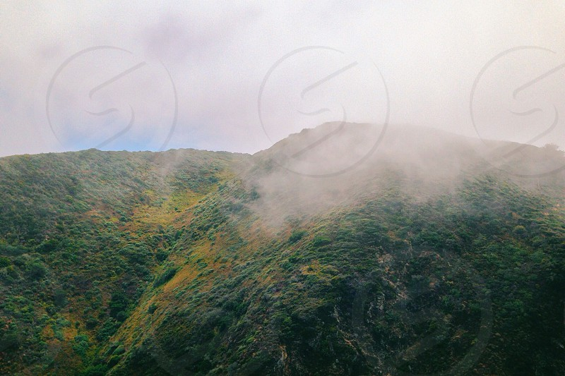 mountain view with fog photo